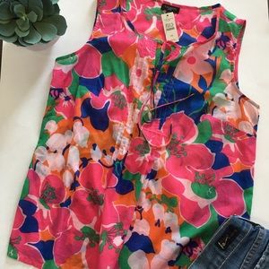 Talbots Petite Floral  Sleeveless Top  NWT small